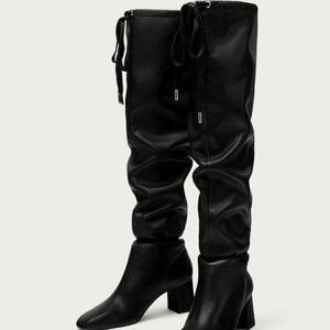 NEW Zara black leather high heel scrunch boots